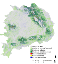 Verandering van bos in de Roemeense Karpaten    tussen 1995 en 2010  - Steven Vanonckelen