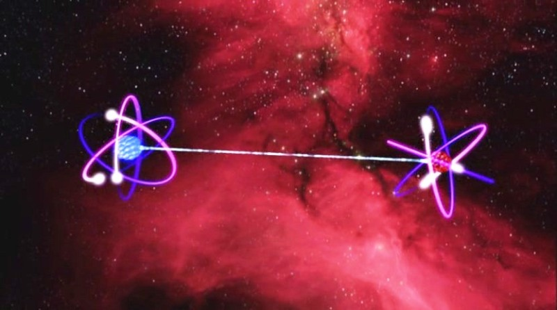 Artistic depiction of two entangled atoms. There is no visible connection: no forces, no pulleys, no telephone wires, no nothing. And yet, somehow the atoms seem to communicate with one another, allowing scientists to teleport information from one place to another.